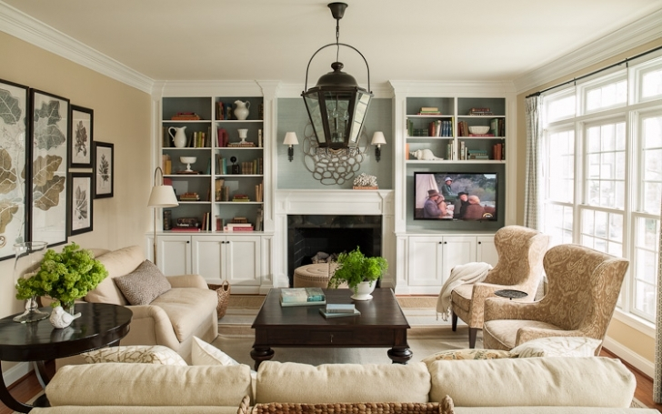 Excellent Built In Bookshelves Around Fireplace Regarding Family Room After Decorating Pic