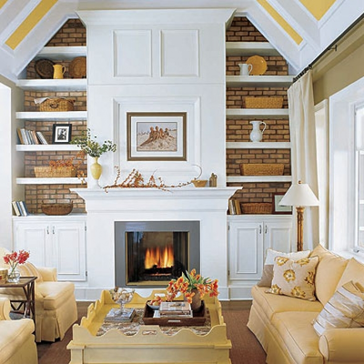 Excellent Built In Bookshelves Around Fireplace With Transitional Living Room Decor Images