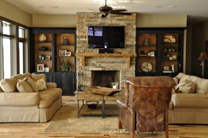 Fascinating Built In Bookshelves Around Fireplace Throughout Stunning Living Room Design Photo