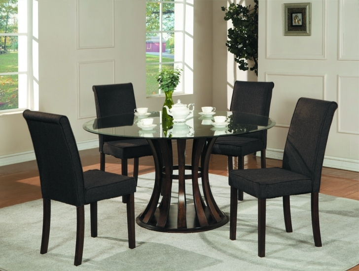 Glass Kitchen Tables For Small Spaces Inside Beautiful Round Glass Top Dining Table Sets And Round  Black Color Wooden Hourglass Image
