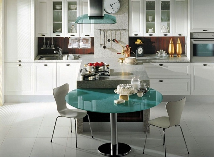 Glass Kitchen Tables For Small Spaces Regarding Stunning Round Design And Steel Base Pictures
