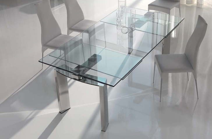 Glass Kitchen Tables For Small Spaces With Stylish Sharp Glass Extendable Dining Table Designs Pic
