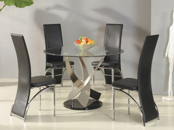 Glass Kitchen Tables For Small Spaces Within Wonderful Round Kitchen Tables And Chairs Images