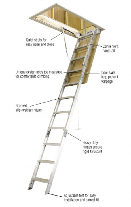 Gorgeous Attic Stairs Pull Down Pole With Regard To Werner 8 Ft 10 Ft 25 In X 54 In Aluminum Attic Ladder Image