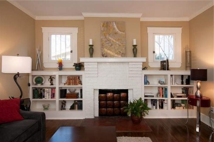 Gorgeous Built In Bookshelves Around Fireplace With Regard To  Furniture Home Design Photos