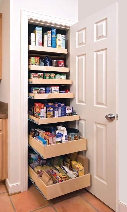 Kitchen Pantry Cabinet Ideas With White Wooden Pantry Door With Brown Wooden Sliding Racks Pic