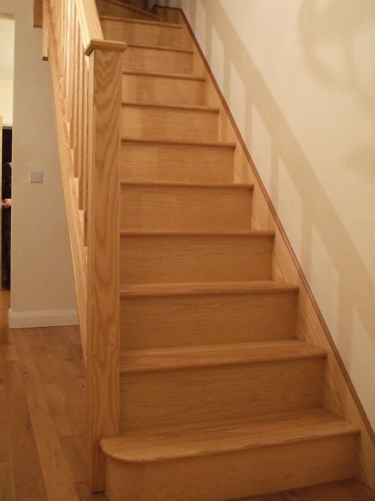 Oak Staircase Design Stainless Steel Glass Balustrade Image