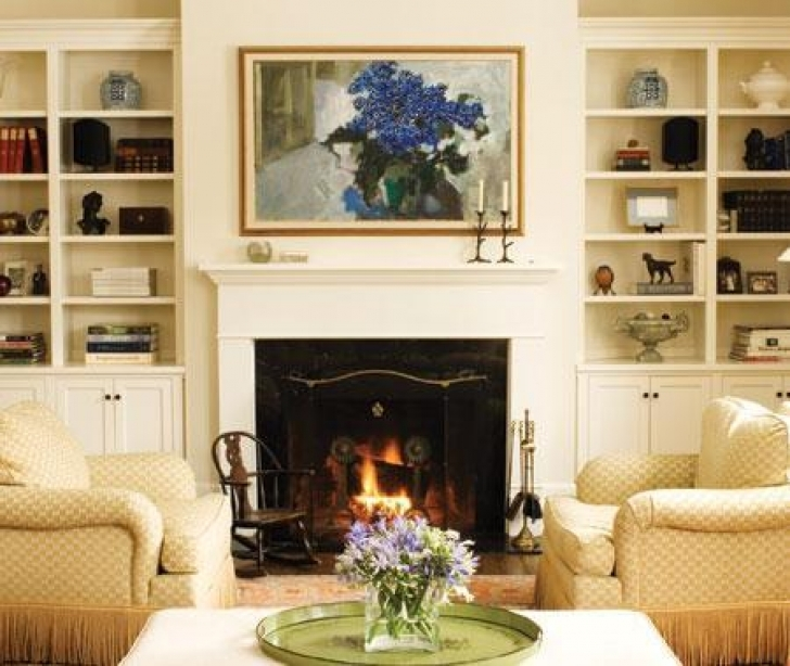 Outstanding Built In Bookshelves Around Fireplace Inside Cabinets Cottage Living Room Pics
