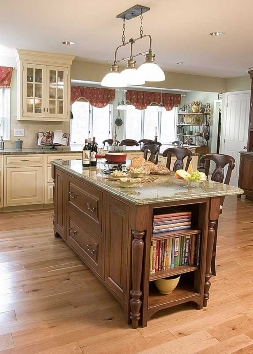 Outstanding Floating Kitchen Island With Seating Inside White Nylon Shades Ceiling Light Also White Painted Mahogany Pic