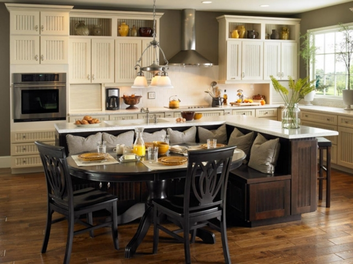 Outstanding Floating Kitchen Island With Seating With Regard To Original Kitchen Islands Built In Seating Photo