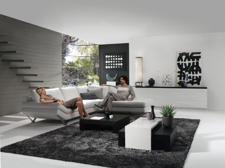 Stylish Gray Paint Colors For Living Room Regarding Rectangular White Black Wooden Tables And Rectangular Black Rugs Images