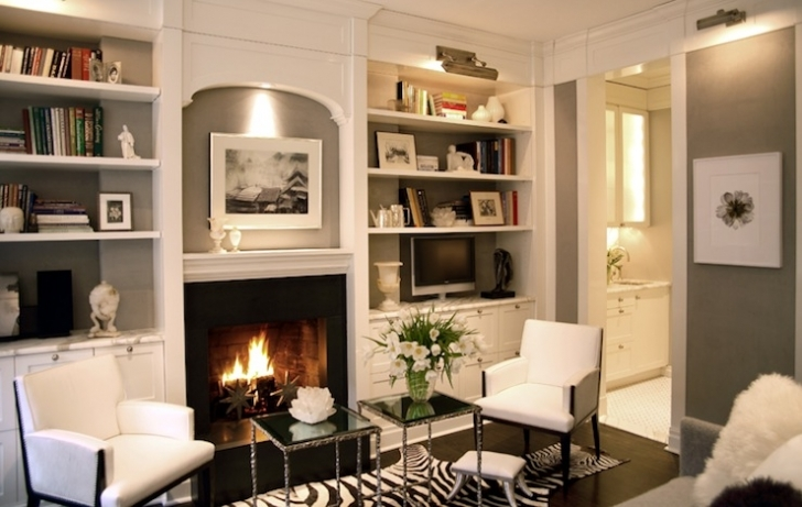 Wonderful Built In Bookshelves Around Fireplace With Transitional Living Room Picture