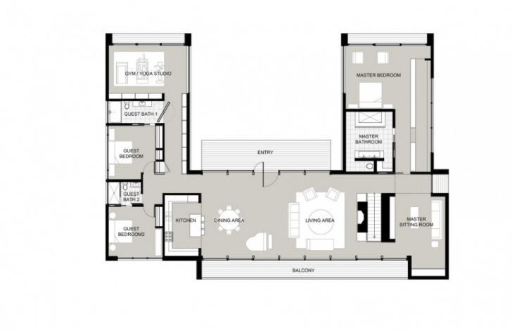 Wonderful U Shaped Home Plans Throughout Modern Design Home Architecture Pic