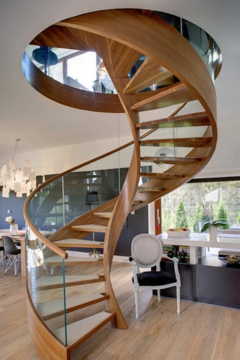 Wooden Spiral Staircase Inside Gorgeous Modern Designed With Glass Banister Set Over White Armchair  Pic231