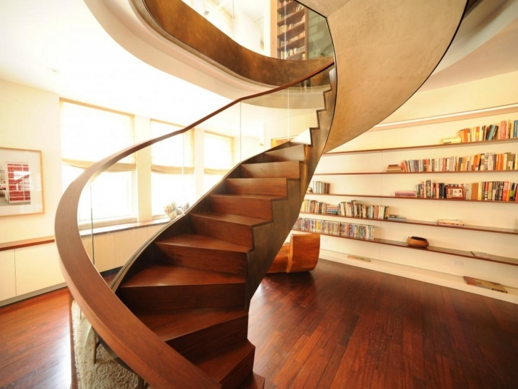 Wooden Spiral Staircase With Regard To Incredible Glass Baluster Interior Modern Wooden Staircase Photos998