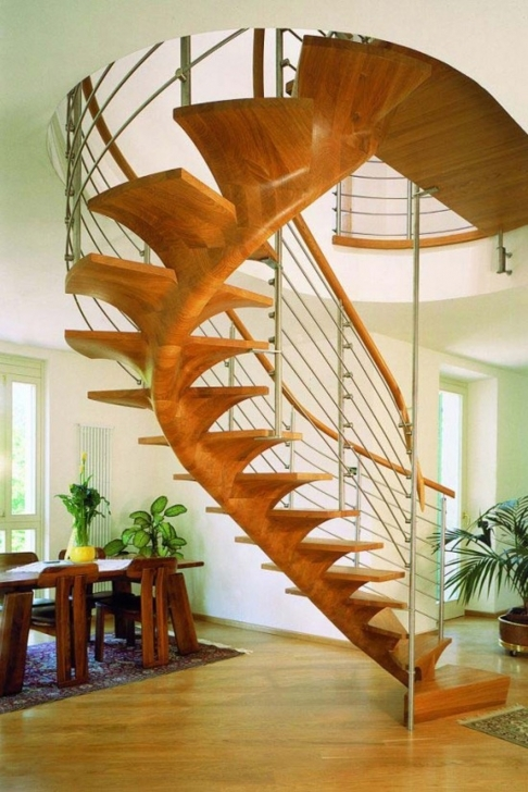 Wooden Spiral Staircase With Regard To Marvelous Wired Iron Baluster Home Interior Design Pictures487