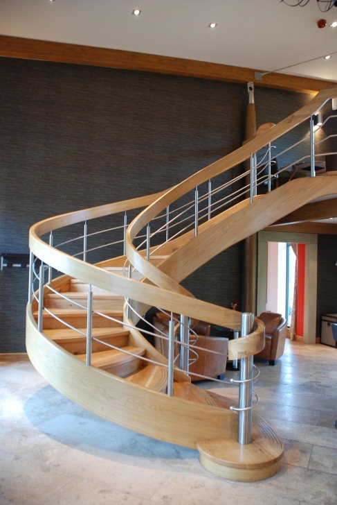 Wooden Spiral Staircase With Wonderful Decoration Metal Fence Spiral Staircase Pics683