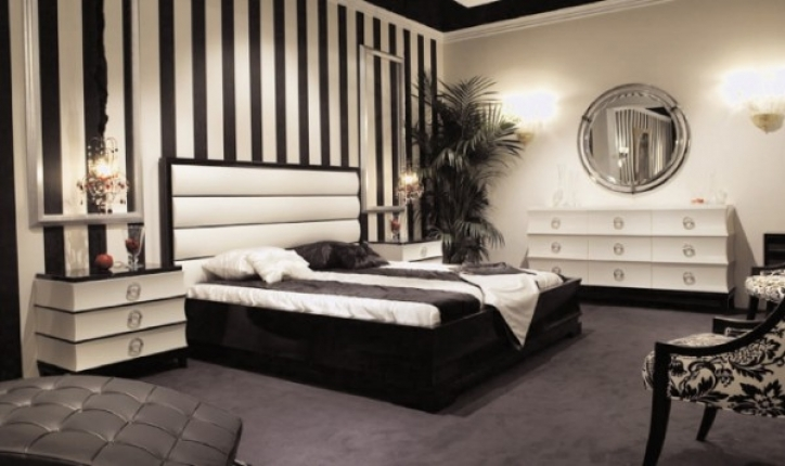 Art Deco Bedroom Design Ideas With Classy Black White Decoration Picture 573
