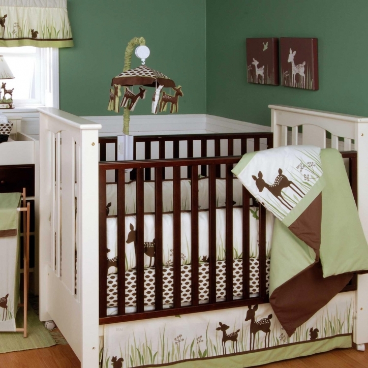 Baby Bedding For Boys Attractive Dark Green Color On The Walls White Crib With Deer Print Bedding Set
