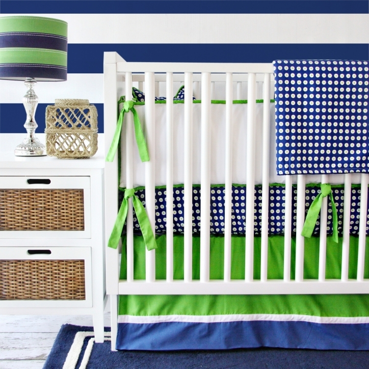 Baby Bedding For Boys Inspiring Blue White Polka Feat Plain Green And White Stained Wooden Crib