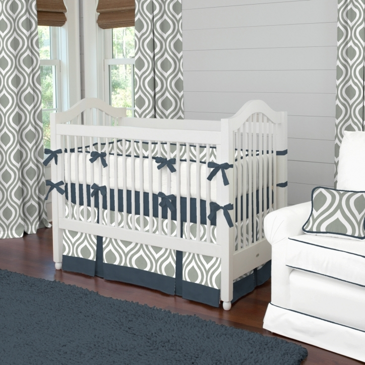 Baby Bedding For Boys Stylish Gray And Navy Raindrops Crib Bedding Large