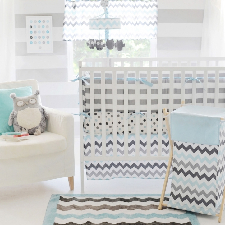 Baby Boy Bedding Sets Gorgeous Chevron Ba Aqua Crib Set