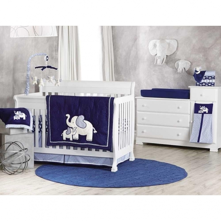 Baby Crib Bedding Sets 4 Piece Elephant Navy Ideas Photo