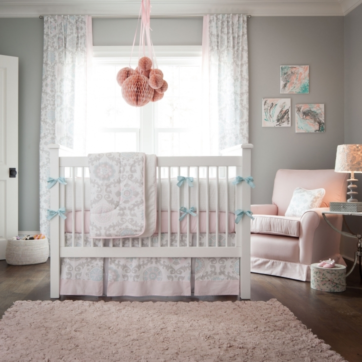 Baby Crib Bedding Sets Pink And Gray Rosa Crib Bedding Large Size  Image