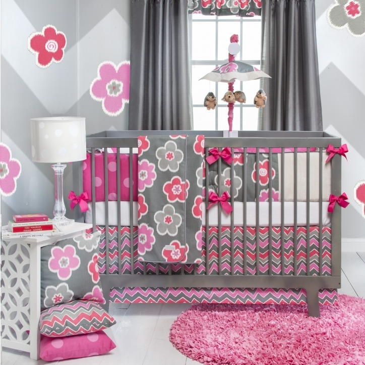 Baby Crib Bedding Sets With Neutral Color Gray And Pink Picture