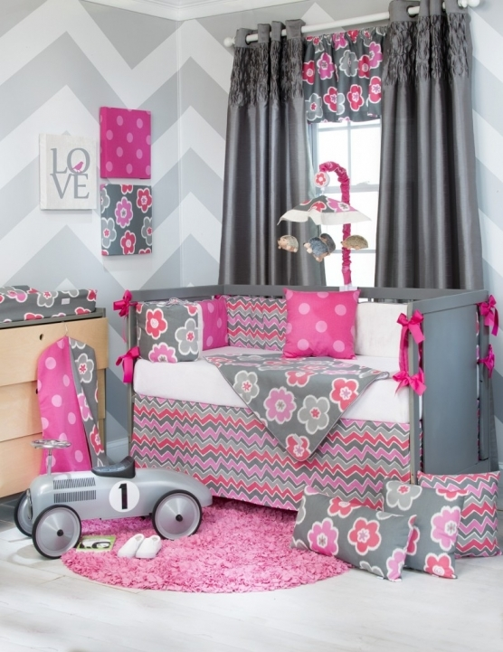 Baby Crib Bedding Sets With Pink And Gray Color Pictures