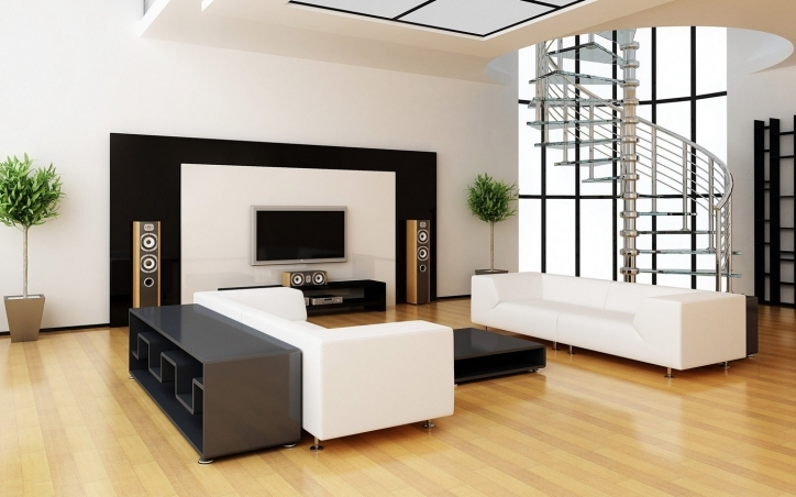 Beautiful Contemporary Living Room Furniture Ideas Regarding Wonderful White Wall Features And Modern White Sofa Also Laminate Flooring With Entertainment Units Pics 592