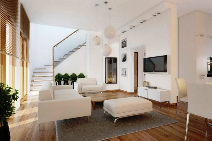 Beautiful Contemporary Living Room Furniture Ideas With Cozy Fresh Modern Living Space Beside Staircase Pictures 377