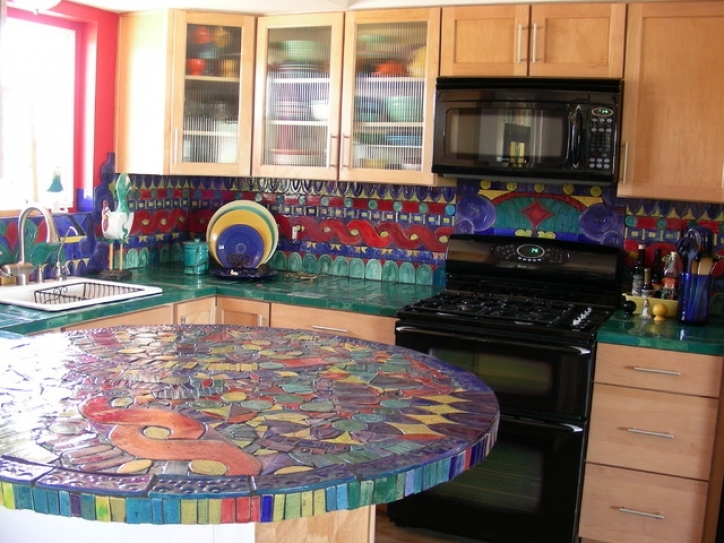 Excellent Mosaic Kitchen Backsplash Handmade Tile Eclectic 340