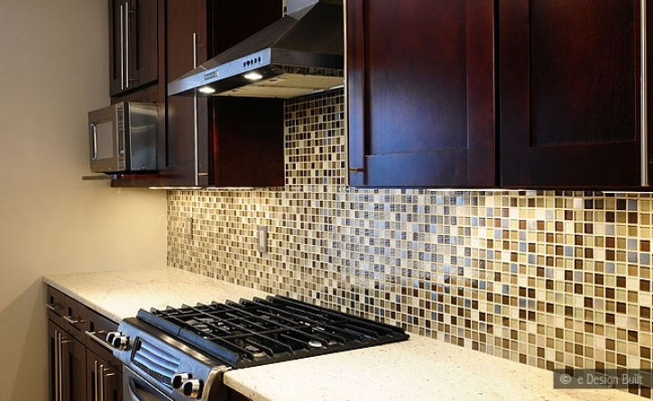 Incredible Mosaic Kitchen Backsplash Tile Dark Brown Cabinet Beige Countertop Glass 146