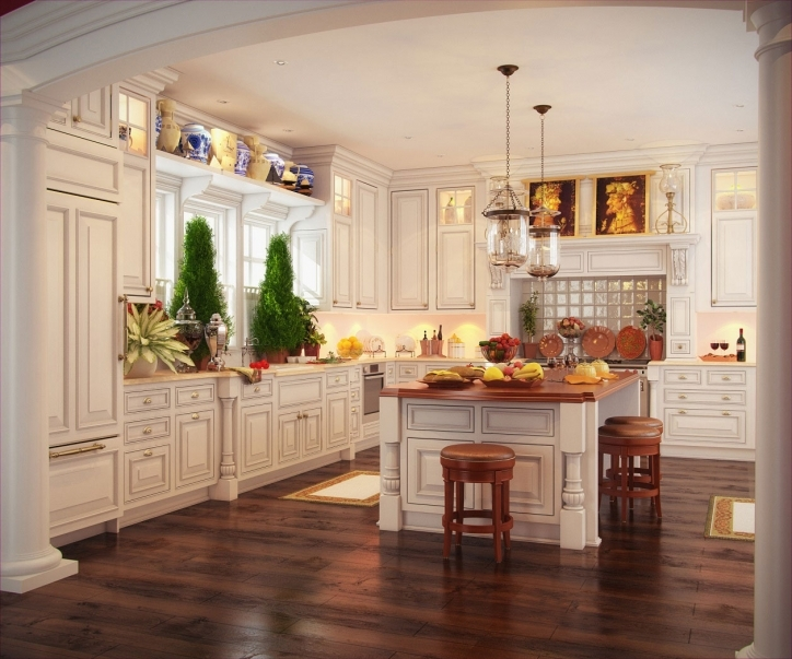 Kitchen Flooring Ideas Inside Excellent And Elegant Cabinets White Kitchen Decoration Picture914