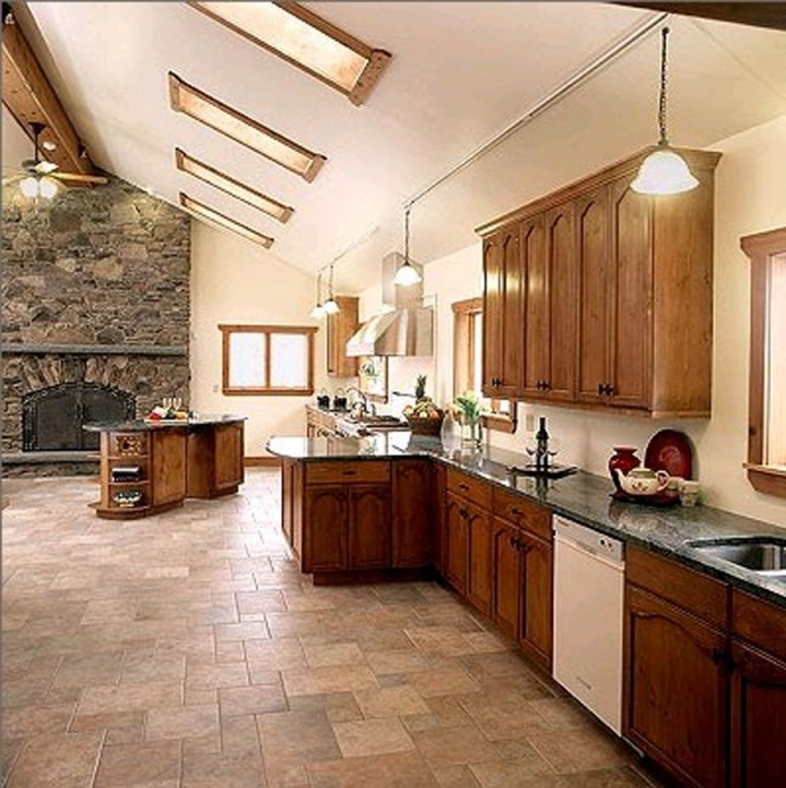 Kitchen Flooring Ideas With Extraordinary Wooden Cabinets Inspiration Pic089