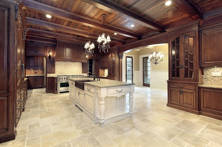 Kitchen Flooring Ideas With Incredible Random Pattern Tile Kitchen Floor Design Ideas And Wooden Cabinets Images022
