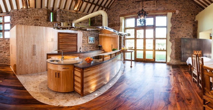 Kitchen Flooring Ideas With Wonderful Rustic Open Kitchen Design With Wooden Floors Pic863