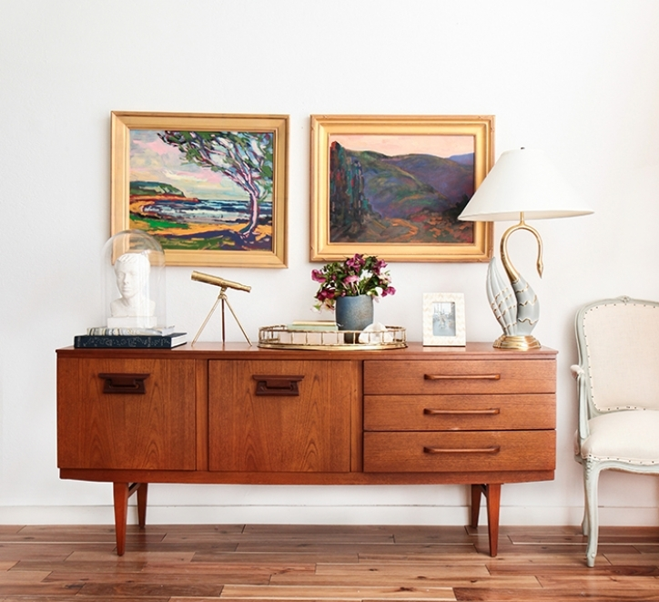 Mid Century Modern Credenza Within Extraordinary Oil Painting Masculine Brass Mid Century Modern Glam Images 680