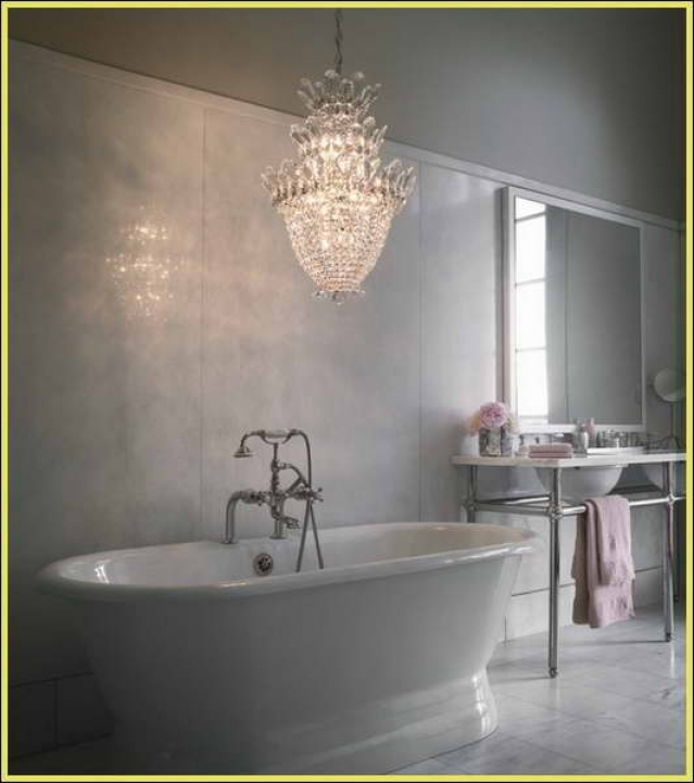Mini Crystal Chandeliers For Bathroom Delightful White Bathroom Decor 593