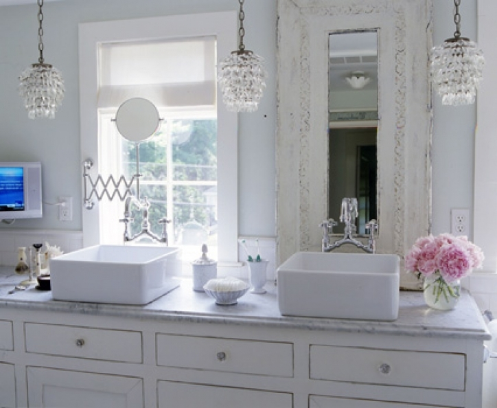 Mini Crystal Chandeliers For Bathroom Gorgeous Shabby Chic Bathroom Cottage Design   515