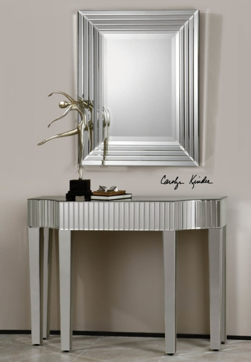 Mirrored Console Table Inside Delightful Ikona Mirrored Console Table Beach Style Miami 831