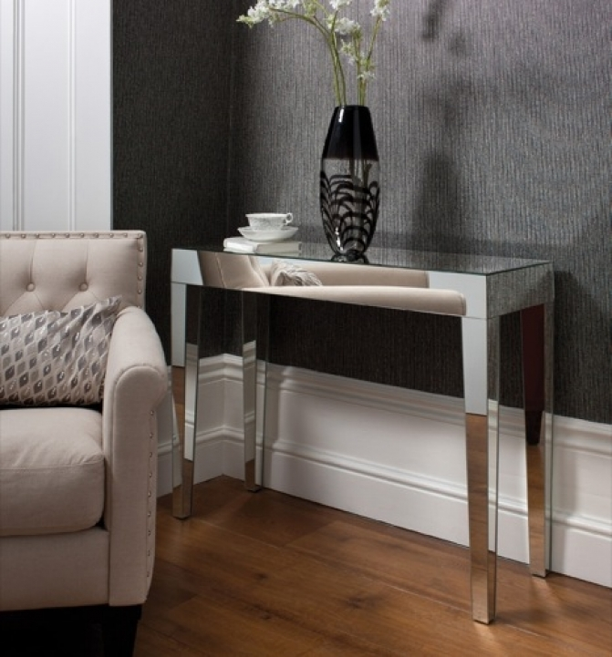 Mirrored Console Table Inside Inspiring Geo Mirrored Console Table 40x14x30 Inches 176