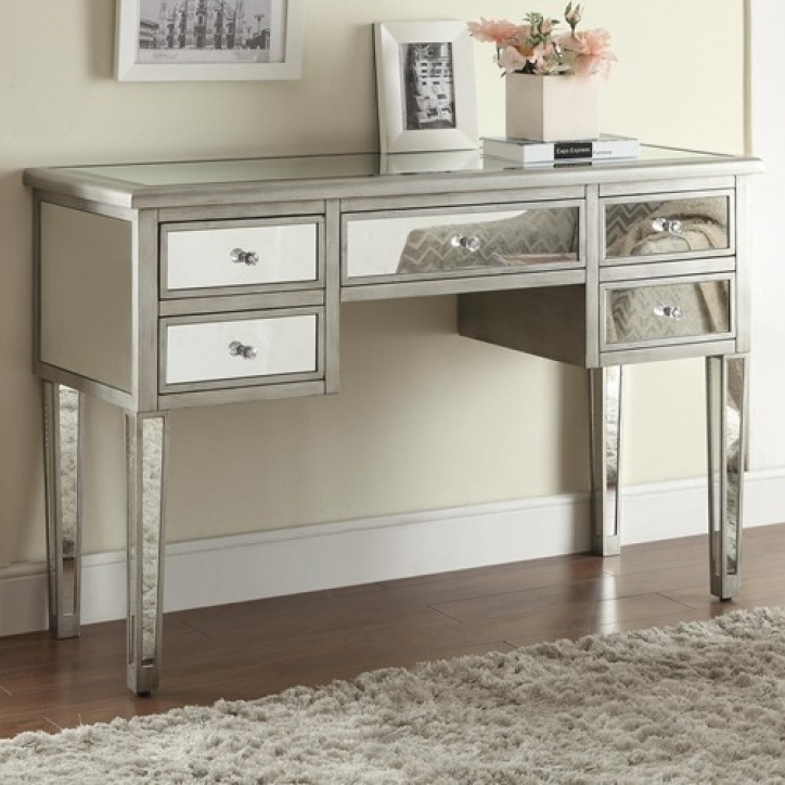 Mirrored Console Table Regarding Wonderful Mirrored Console Table With Drawers  576