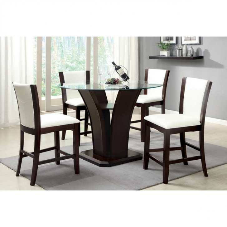 Modern Counter Height Dining Set Inside Gorgeous Furniture Of America Carlise Glass 5 Piece Pic