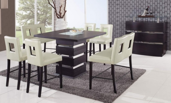Modern Counter Height Dining Sets Within Delightful Rectangular Pedestal Table And Perforated Back White Chair Design Photo