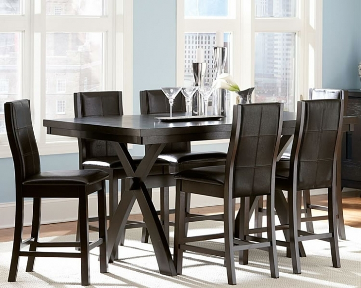 Modern Counter Height Dining Table Set Regarding Fascinating Black Ideas Photo