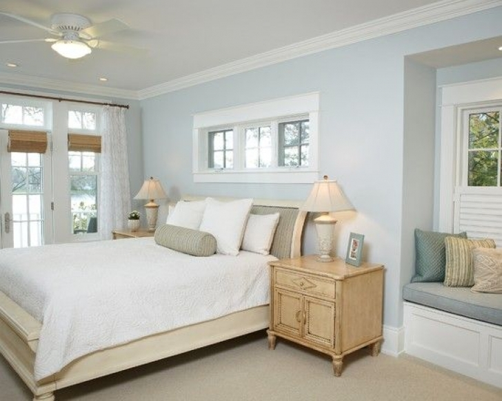 Paint Colors For Bedrooms With Light Wood Furniture Within Brilliant Blue Beige White Bedroom Picture