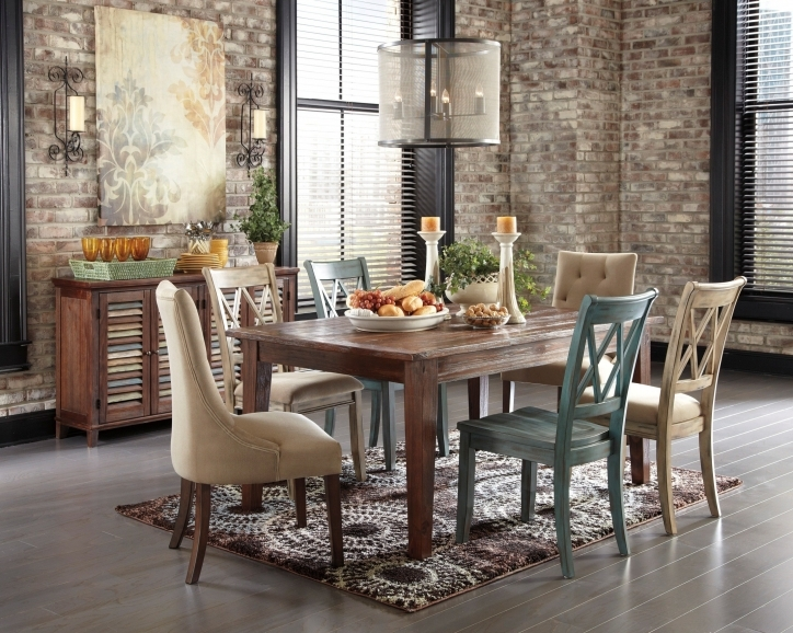 Rustic Dining Room Sets Within Extraordinary Brown Carpet Brick Wall Style Cover Window And Hanging Lamps Pics 713