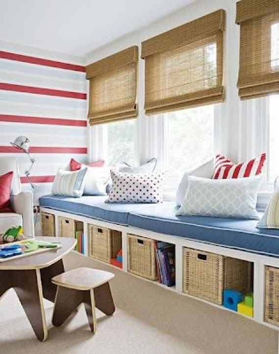 Under Window Storage Long Bench For Kids Room Ideas 974